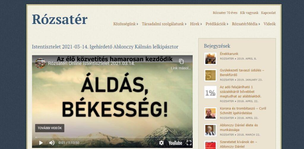 Rózsatér honlapja